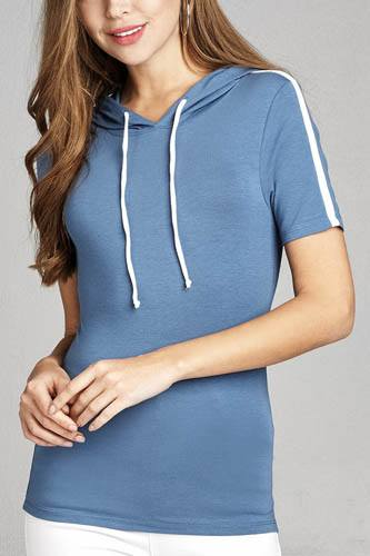 Ladies fashion short sleeve w/wide stripe drawstring hoodie cotton rayon spandex top-id.CC34959b