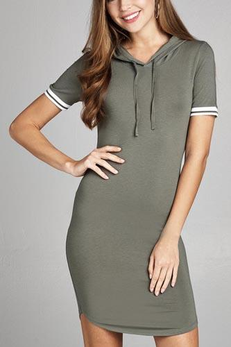 Ladies fashion short sleeve w/stripe band drawstring hoodie cotton rayon spandex mini dress -id.CC34961b