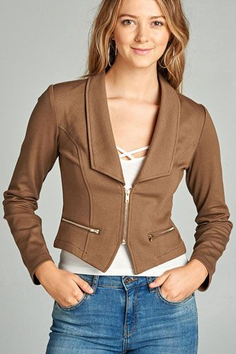 Ladies fashion long sleeve zip front blazer-id.CC34962