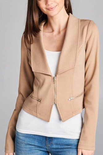 Ladies fashion long sleeve zip front blazer-id.CC34962b