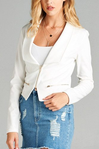 Ladies fashion long sleeve zip front blazer-id.CC34962c