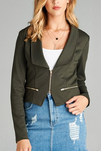 Ladies fashion long sleeve zip front blazer-id.CC34962d