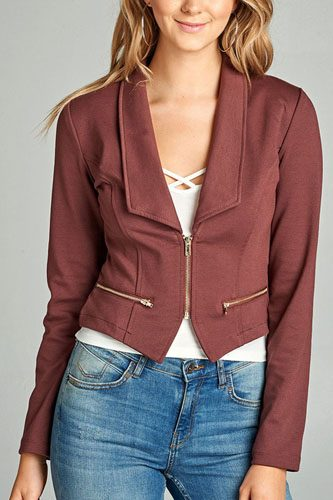 Ladies fashion long sleeve zip front blazer-id.CC34962f