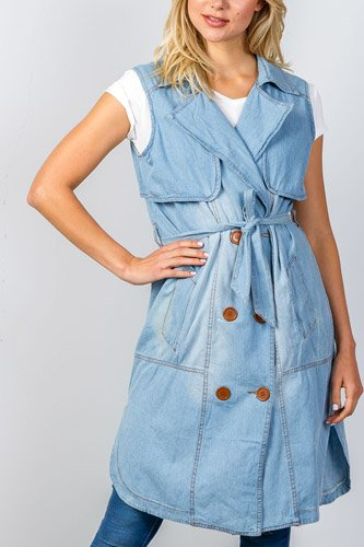 Ladies fashion denim self-tie long waistcoat-id.CC34970