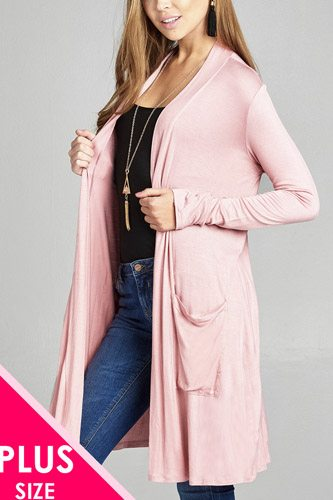 Ladies fashion plus size long sleeve open front w/pocket long length rayon spandex cardigan-id.CC34974b