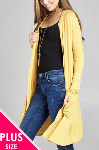 Ladies fashion plus size long sleeve open front w/pocket long length rayon spandex cardigan-id.CC34974d