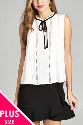 Ladies fashion plus size sleeveless contrast self tie front lace w/pintuck detail crinkle gauze top-id.CC34976b