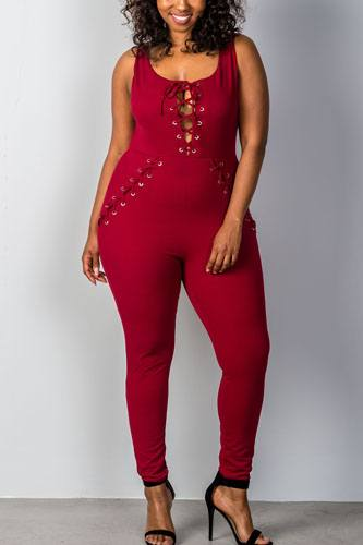 Ladies fashion plus size lace-up jumpsuit-id.CC34979a