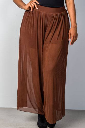 Ladies fashion plus size brown sheer elastic plus size pants-id.CC34982