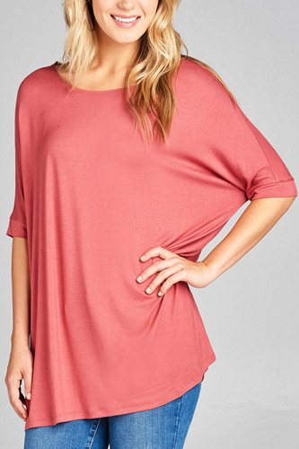 Ladies fashion elbow sleeve round neck rayon spandex jersey tunic top-id.CC34989h