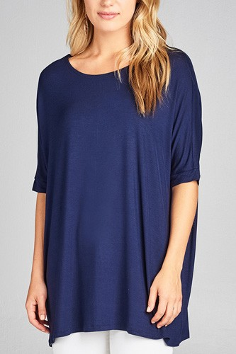 Ladies fashion elbow sleeve round neck rayon spandex jersey tunic top-id.CC34989j