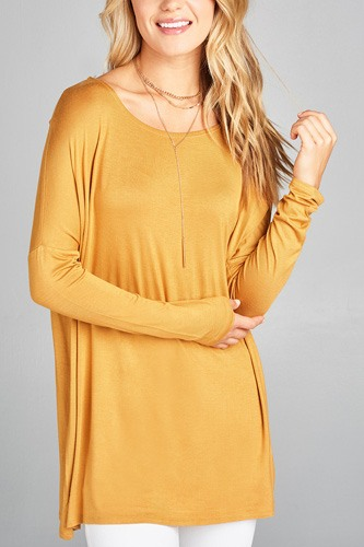 Ladies fashion long sleeve round neck rayon spandex jersey tunic top-id.CC34990b