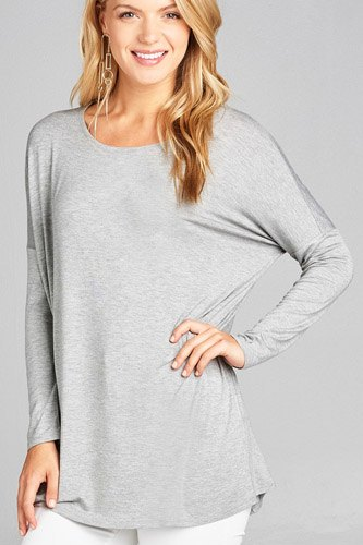 Ladies fashion long sleeve round neck rayon spandex jersey tunic top-id.CC34990e