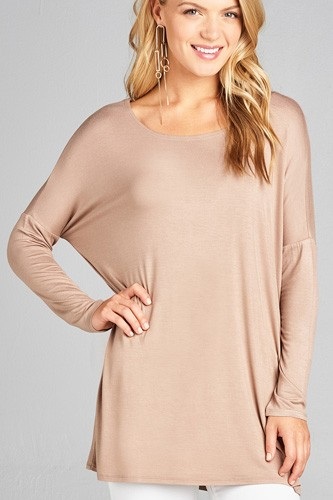 Ladies fashion long sleeve round neck rayon spandex jersey tunic top-id.CC34990f