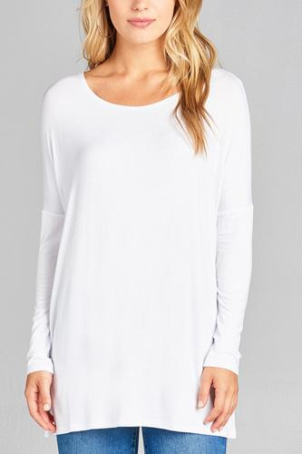 Ladies fashion long sleeve round neck rayon spandex jersey tunic top-id.CC34990i