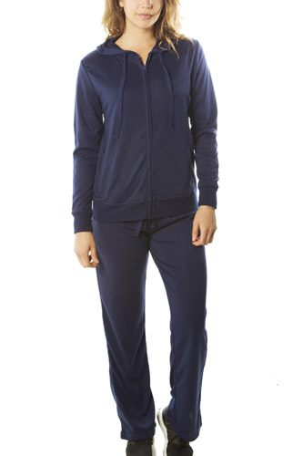 Ladies fashion french terry hoodie jacket and pant set-id.CC34997c