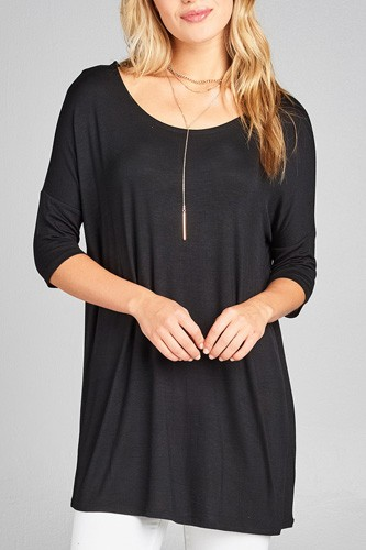 Ladies fashion band elbow sleeve round neck rayon spandex jersey tunic top-id.CC35018
