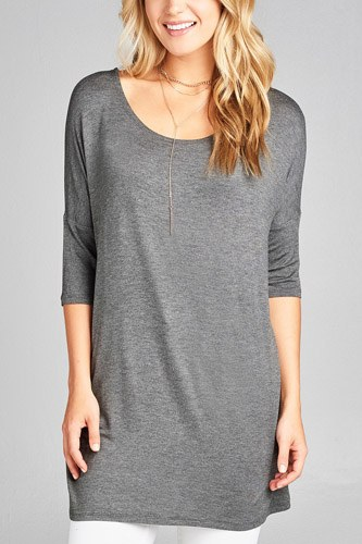 Ladies fashion band elbow sleeve round neck rayon spandex jersey tunic top-id.CC35018a
