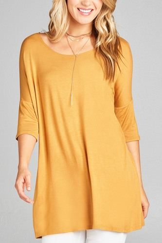 Ladies fashion band elbow sleeve round neck rayon spandex jersey tunic top-id.CC35018b