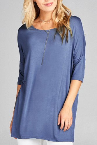 Ladies fashion band elbow sleeve round neck rayon spandex jersey tunic top-id.CC35018c