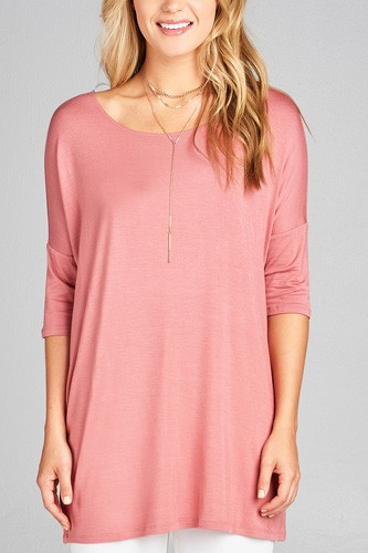 Ladies fashion band elbow sleeve round neck rayon spandex jersey tunic top-id.CC35018d