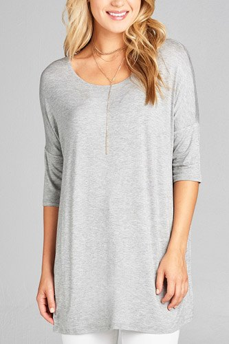 Ladies fashion band elbow sleeve round neck rayon spandex jersey tunic top-id.CC35018e