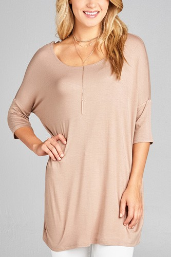 Ladies fashion band elbow sleeve round neck rayon spandex jersey tunic top-id.CC35018f