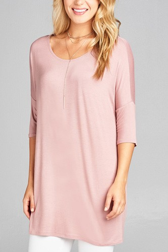 Ladies fashion band elbow sleeve round neck rayon spandex jersey tunic top-id.CC35018g
