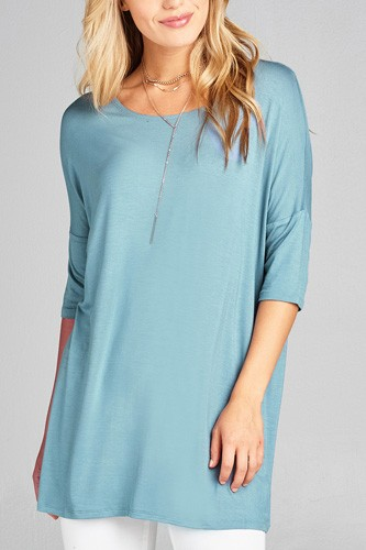 Ladies fashion band elbow sleeve round neck rayon spandex jersey tunic top-id.CC35018h