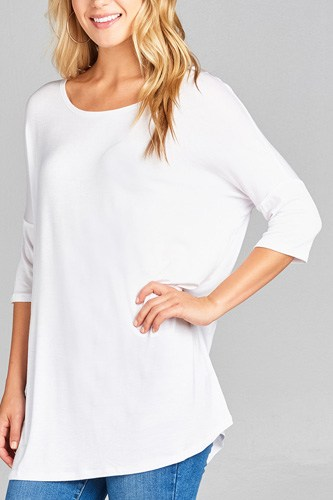 Ladies fashion band elbow sleeve round neck rayon spandex jersey tunic top-id.CC35018i