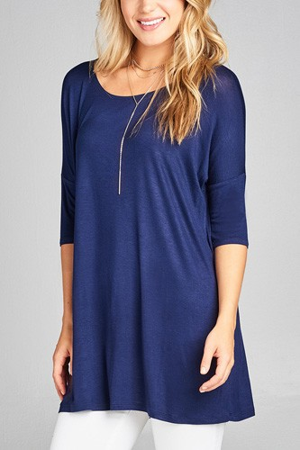 Ladies fashion band elbow sleeve round neck rayon spandex jersey tunic top-id.CC35018j