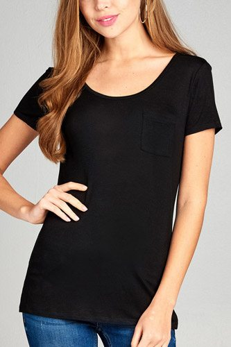 Ladies fashion short sleeve round neck w/back strappy detail rayon spandex top-id.CC35019
