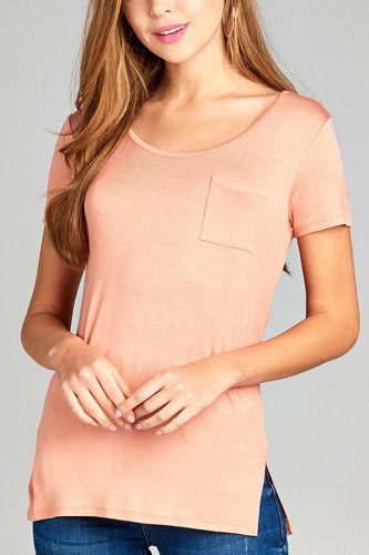 Ladies fashion short sleeve round neck w/back strappy detail rayon spandex top-id.CC35019a