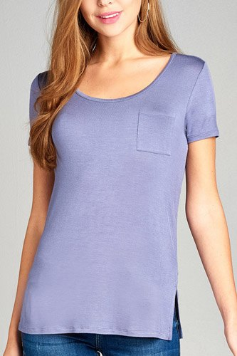 Ladies fashion short sleeve round neck w/back strappy detail rayon spandex top-id.CC35019d