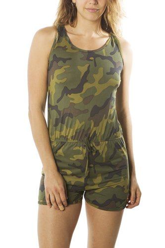 Ladies fashion camo-ladies racer back camouflage romper shorts-id.CC35041