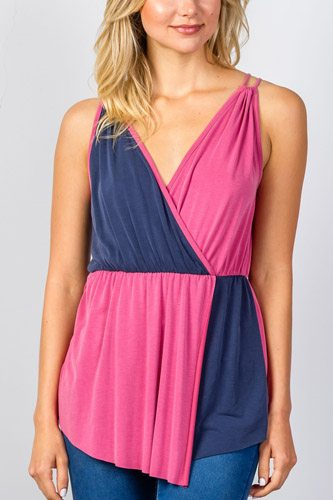 Ladies fashion raspberry & navy pink color-block v-neck crossover top-id.CC35061