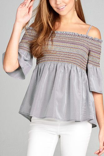 Ladies fashion short sleeve open shoulder w/special smoked stripe woven top -id.CC35076