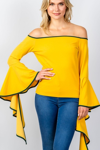 Ladies fashion contrast trim flared sleeve bardot top-id.CC35087