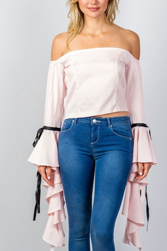Ladies fashion pink ruffles flare sleeve off the shoulder blouse-id.CC35088