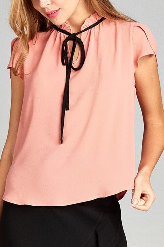 Ladies fashion short tulip sleeve contrast self-tie crepe woven top-id.CC35116b