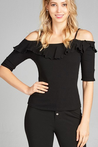 Ladies fashion elbow sleeve open shoulder w/ruffle ribbed cotton spandex top-id.CC35136