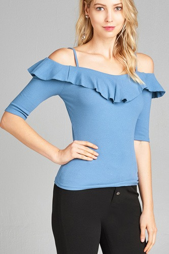 Ladies fashion elbow sleeve open shoulder w/ruffle ribbed cotton spandex top-id.CC35136a