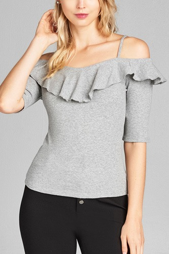 Ladies fashion elbow sleeve open shoulder w/ruffle ribbed cotton spandex top-id.CC35136b