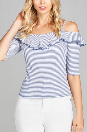Ladies fashion elbow sleeve open shoulder w/ruffle stripe ribbed cotton spandex top-id.CC35137a