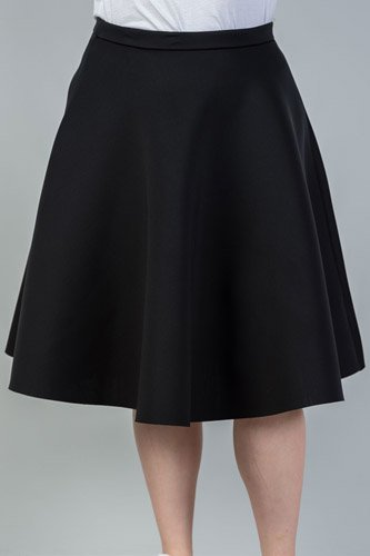Ladies fashion plus size midi length black midi skirt -id.CC35140