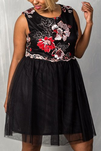 Ladies fashion round neckline sleeveless back zipper closure floral embroidered fit and flare tulle dress -id.CC35143
