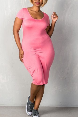 Ladies fashion plus size short sleeves stretchy fitted midi length round neckline dress-id.CC35146