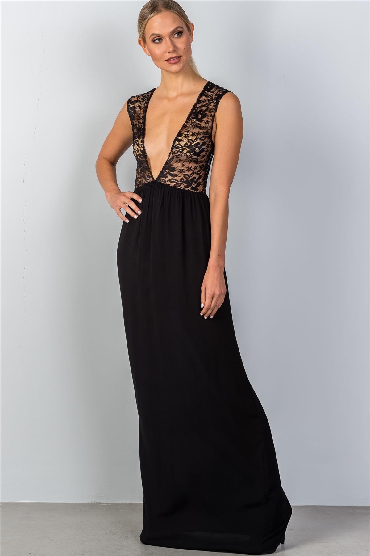 6409f9303b Ladies fashion sleeveless deep v plunge lace sheer top maxi dress-id.CC35167.  Black