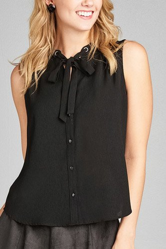 Ladies fashion sleeveless v-neck self tie w/eyelet detail front button woven top-id.CC35155a