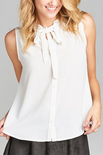 Ladies fashion sleeveless v-neck self tie w/eyelet detail front button woven top-id.CC35155e